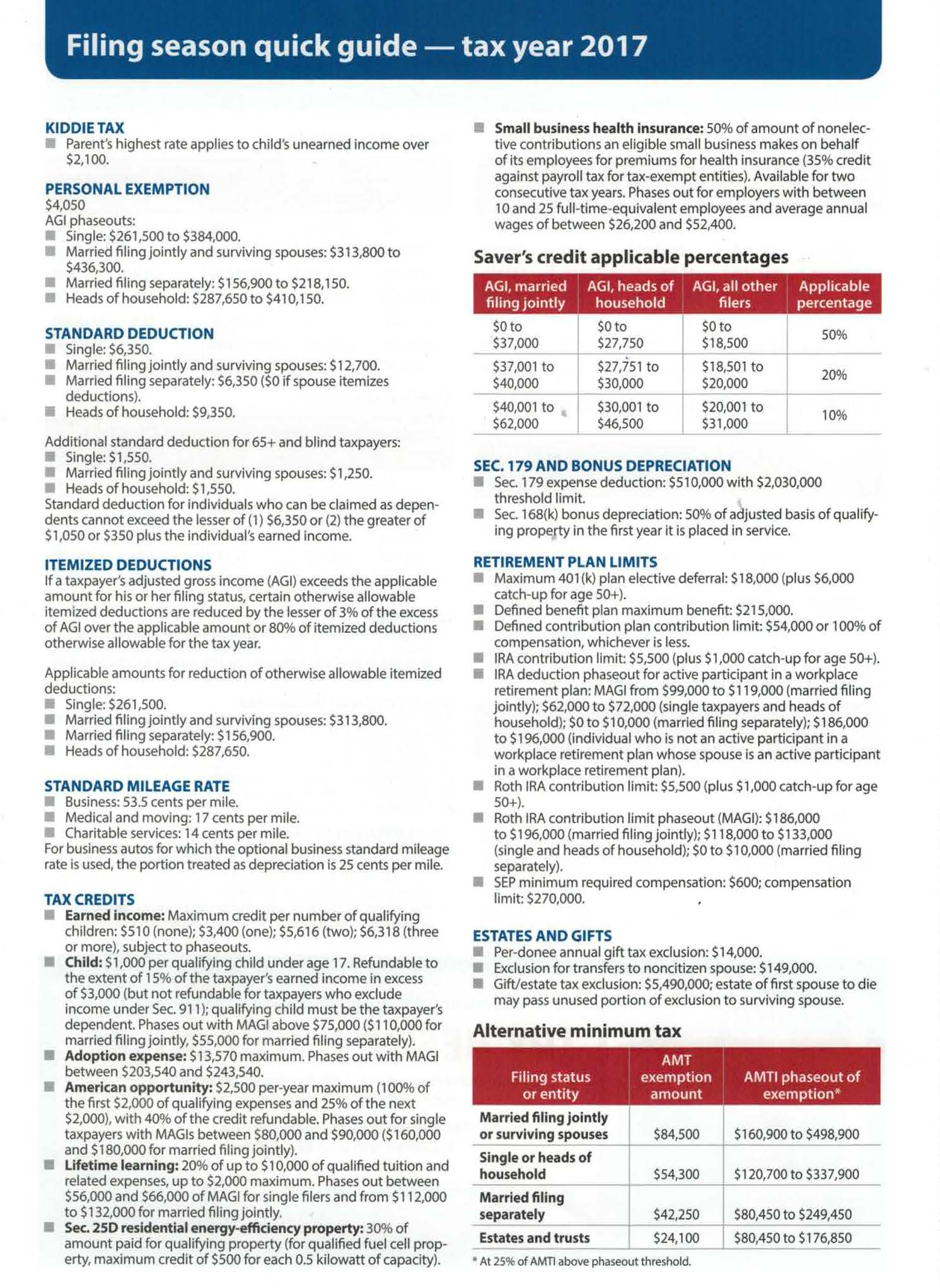 Filing Season Quick Guide for Tax year 2017